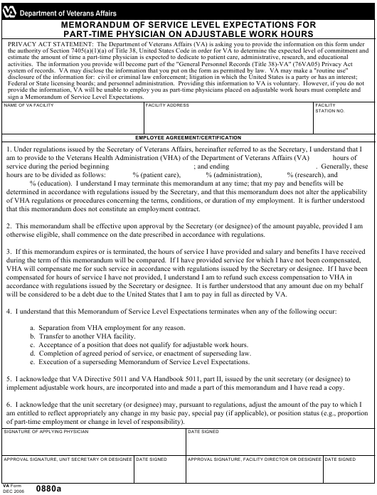 VA Form 0880A  Printable Pdf