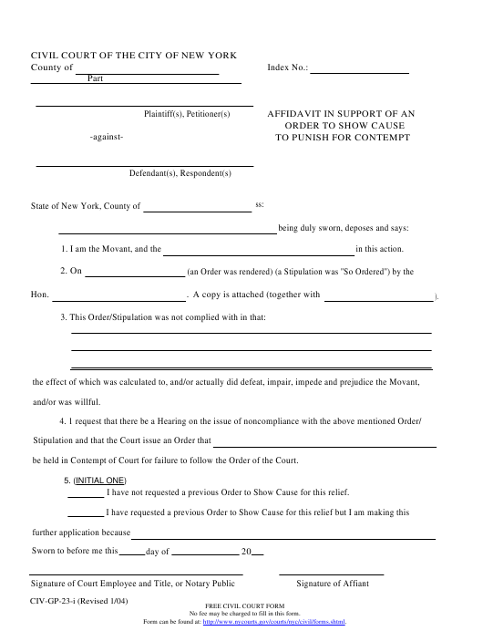 Form CIV-GP-23-i  Printable Pdf