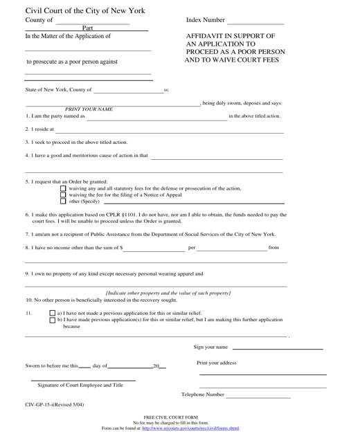 Form CIV-GP-15-i  Printable Pdf
