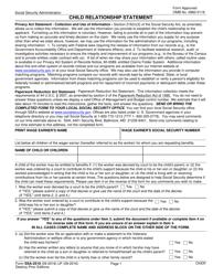 Form SSA-2519 Child Relationship Statement