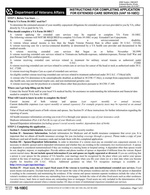 VA Form 10-10EC Fillable Pdf