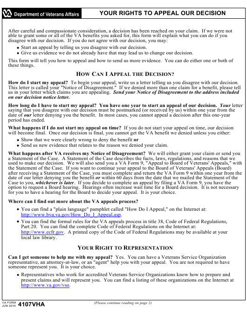 VA Form 4107VHA Printable Pdf