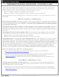 "VA Form 4107C ""Your Rights to Appeal Our Decision - Contested Claims"""