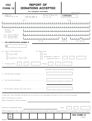"""FEC Form 13 """"Report of Donations Accepted for Inaugural Committee"""""""