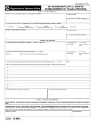 VA Form 10-3542 Veteran/Beneficiary Claim for Reimbursement of Travel Expenses