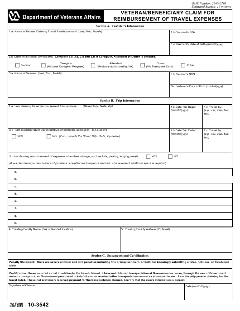 VA Form 10-3542 Fillable Pdf