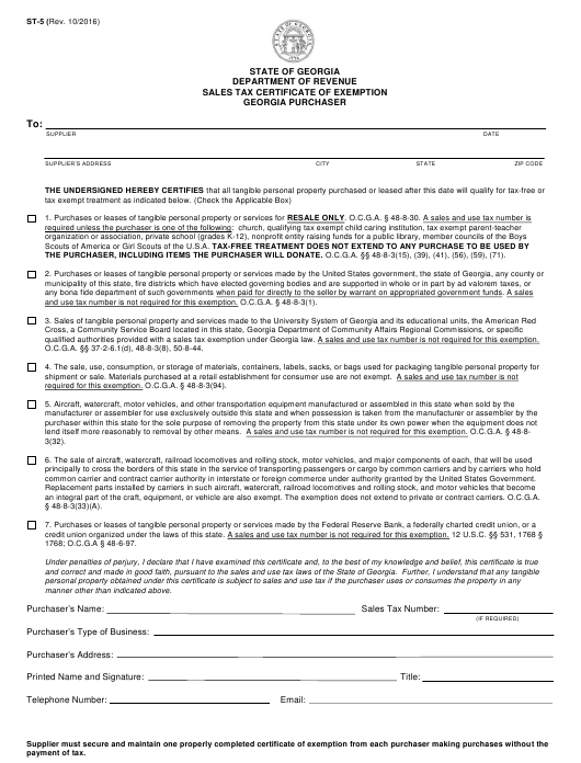 Form ST-5 Download Fillable PDF, Sales Tax Certificate Of Exemption ...
