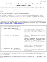 """Instructions for an Enforcement/Violation of an Order of Custody/Visitation Petition"" - Nassau County, New York"