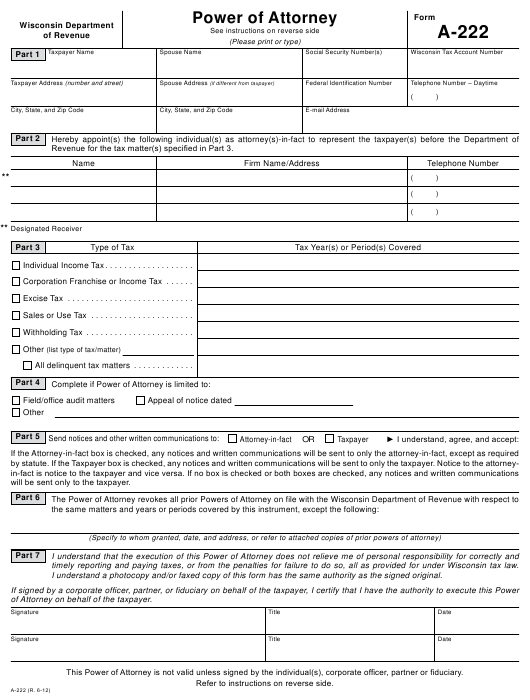 power of attorney form 222  Form A-16 Download Printable PDF or Fill Online Power of ...