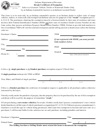"""Form ST-105d """"Resale Certificate of Exemption"""" - Indiana"""