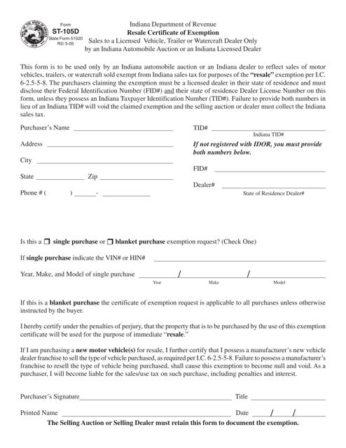 Form ST-105d  Printable Pdf