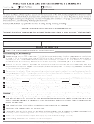 Form S-211 Wisconsin Sales and Use Tax Exemption Certificate - Wisconsin