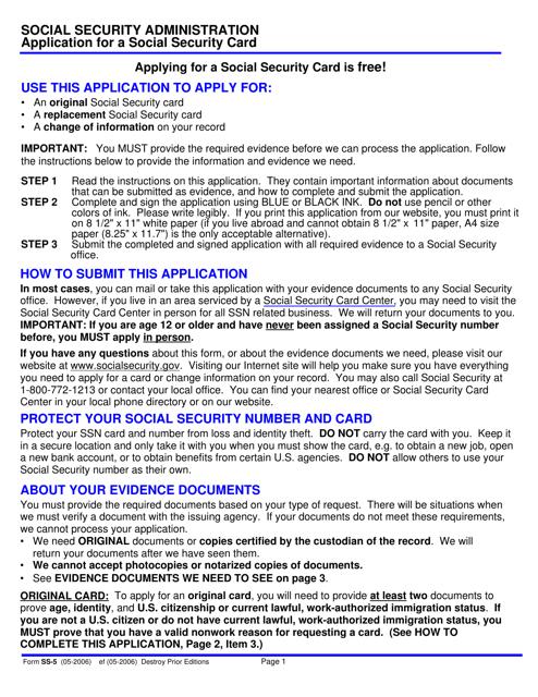 graphic regarding Printable Ssdi Application named Sort SS-5 Obtain Printable PDF, Software for a Social