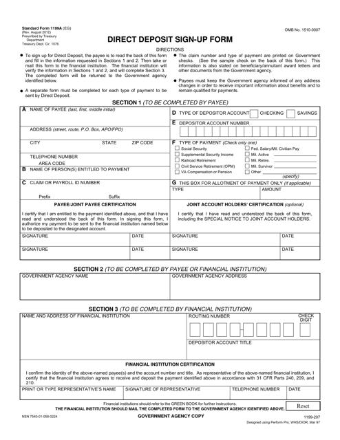 Form SF-1199A  Printable Pdf