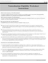 USCIS Form M-480 Naturalization Eligibility Worksheet