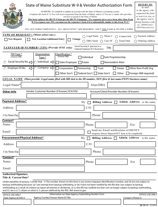 substitute form w-9  Form W-5 Download Fillable PDF, State Of Maine Substitute W ...