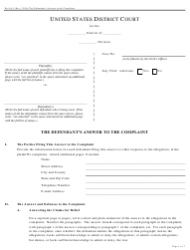 Form Pro Se 3 The Defendant's Answer to the Complaint