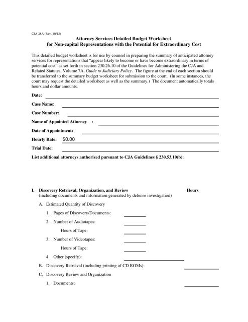 Form CJA28A  Printable Pdf