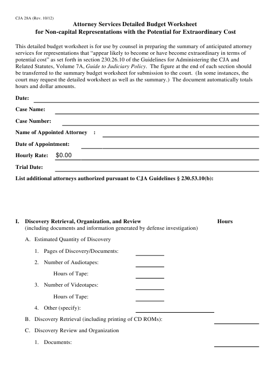 form cja 28a download fillable pdf attorney services detailed