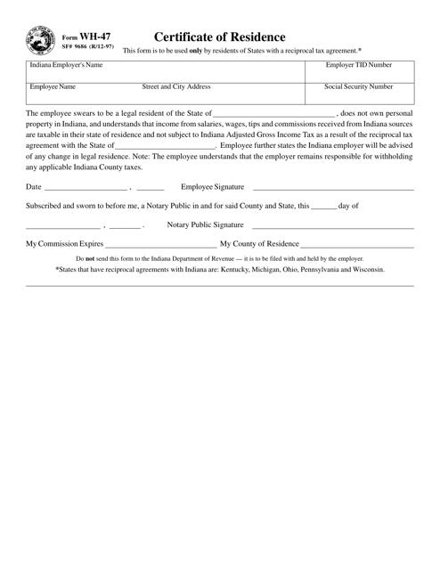 Form SF9686 (WH-47)  Printable Pdf