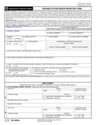 "VA Form 28-1902W ""Rehabilitation Needs Inventory (Rni)"""