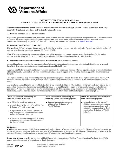 VA Form 21P-601  Printable Pdf