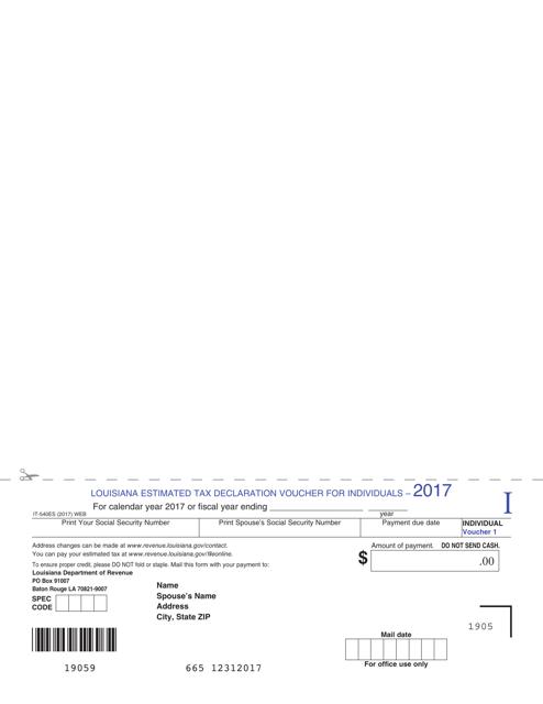 Form IT-540ES 2017 Fillable Pdf