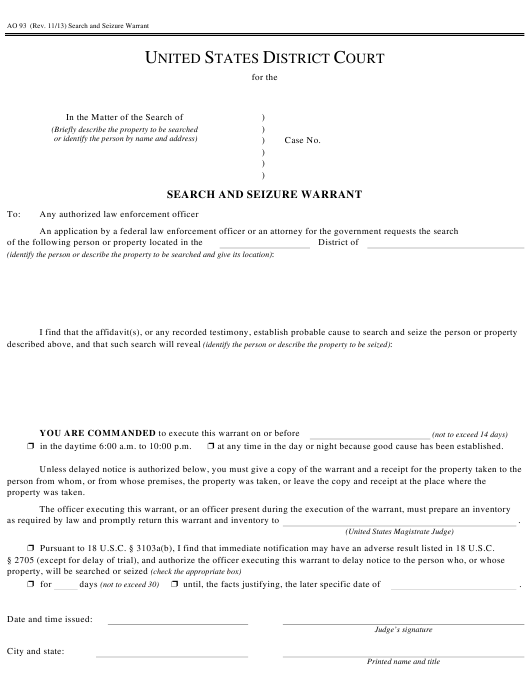 Form AO 93 Download Fillable PDF, Search and Seizure Warrant