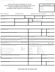 Form MC 250 Application and Statement of Facts for Child Not Living With a Parent or Relative and for Whom a Public Agency Is Assuming Some Financial Responsibility - California