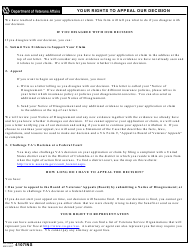 "VA Form 4107INS ""Your Rights to Appeal Our Decision"""