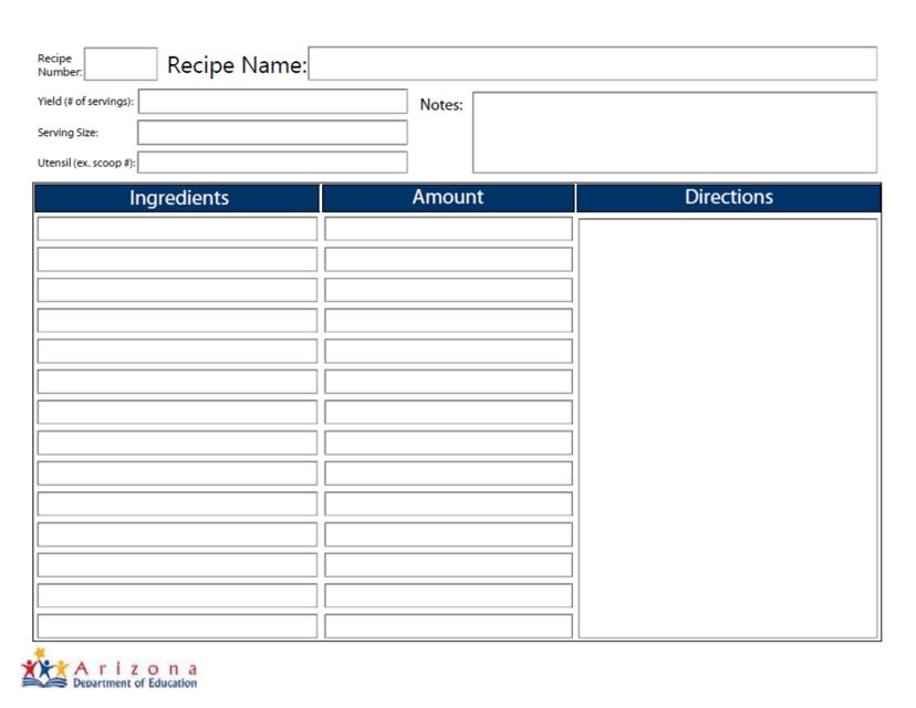 Standardized Recipe Template - Arizona Download Pdf