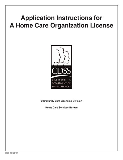 Form HCS281  Printable Pdf