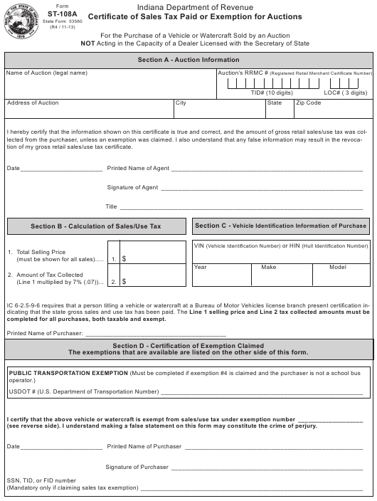 Pay Indiana Sales Tax >> Form St 108a Download Fillable Pdf Or Fill Online