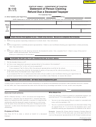 Form N-110 Statement of Person Claiming Refund Due a Deceased Taxpayer - Hawaii