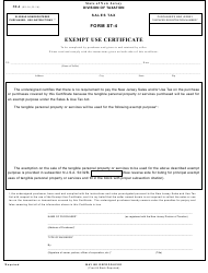 Form ST-4 Exempt Use Certificate - New Jersey