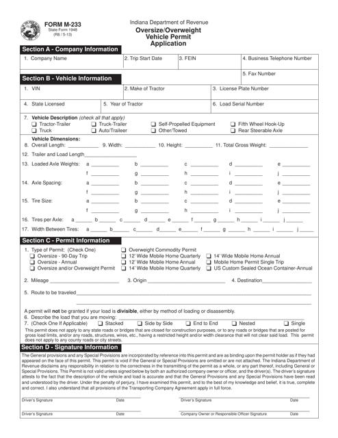 Form M-233  Printable Pdf