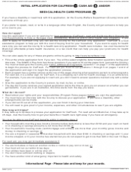 Form SAWS 1 Initial Application for Calfresh, Cash Aid, and/Or Medi-Cal/Health Care Programs - California