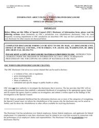Form OSC-12 Disclosure of Information