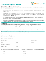 Appeal Request Form - Mnsure - Minnesota