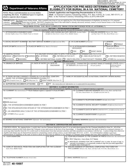 VA Form 40-10007 Printable Pdf