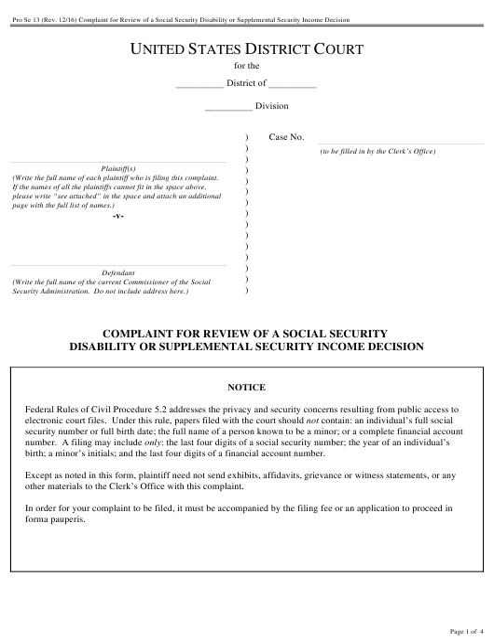 Form Pro Se 13 Download Fillable PDF, Complaint for Review of a