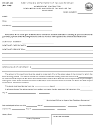 Form WV/CST-283 Nonresident Contractor Consumers Sales and Service Tax and Use Tax Cash Bond - West Virginia