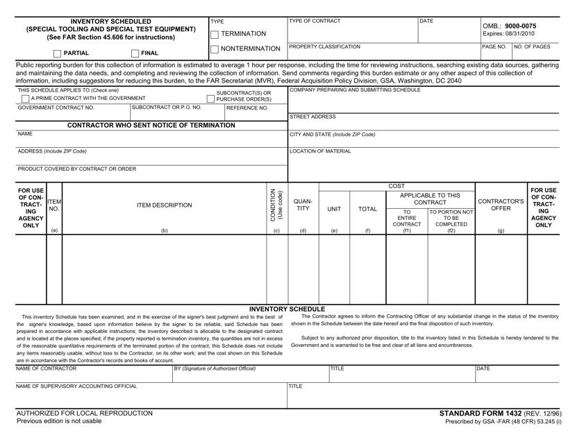 Form SF-1432  Printable Pdf