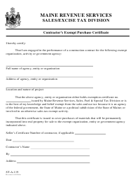 "Form ST-A-119 ""Contractor's Exempt Purchase Certificate"" - Maine"