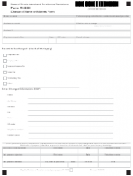 Form RI-COI Change of Name or Address Form - Rhode Island