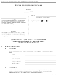 "Form Pro Se6 ""Complaint for a Civil Case Alleging That the Defendant Owes Plaintiff a Sum of Money"""