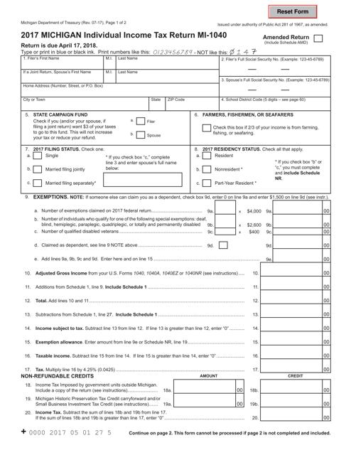 Form Mi 1040 Download Fillable Pdf 2017 Michigan Individual Income