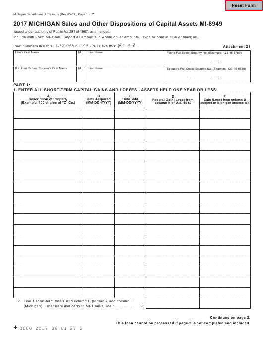 Form MI-8949 Download Fillable PDF 2017, Michigan Sales and
