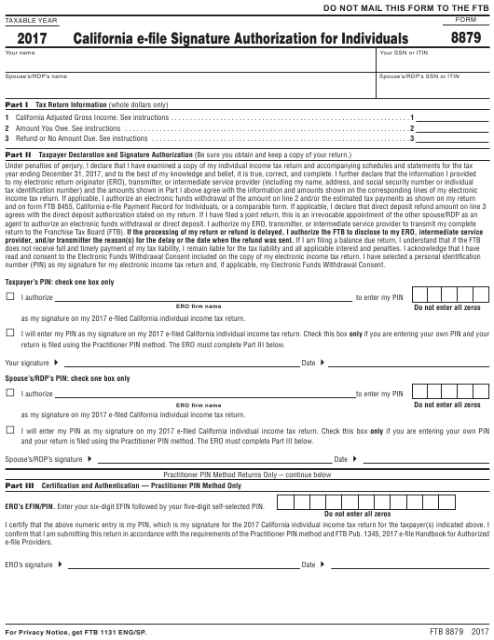 Form FTB8879 2017 Printable Pdf