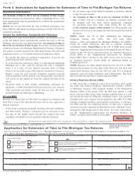 Form 4 Application for Extension of Time to File Michigan Tax Returns - Michigan